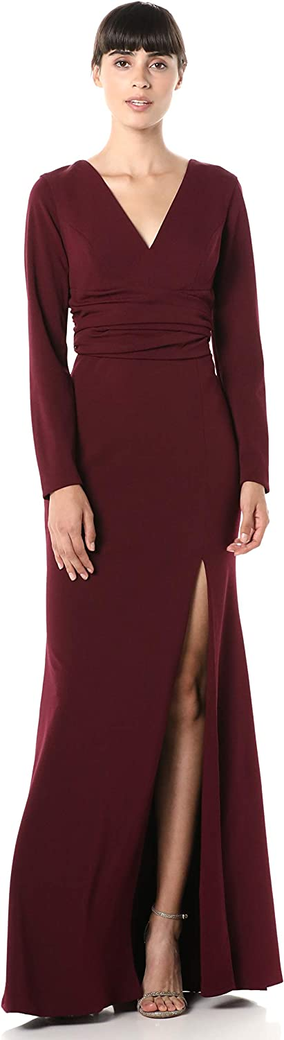 New life Dress the Population Women's Carmen Gown wit Stretch Long Sleeve Bombing new work