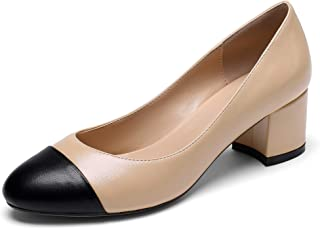 Eldof Round Cap Toe Pumps,Classy 2 Inches Block Heel Chic Pumps, Slip on Comfortable Chunky Heel for Office Wedding Dress