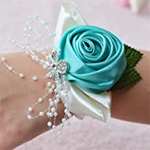Bridal Bridesmaid Wedding Wrist Corsage Hand Flower for Wedding, Party, Prom, Pack of 6, Turquoise