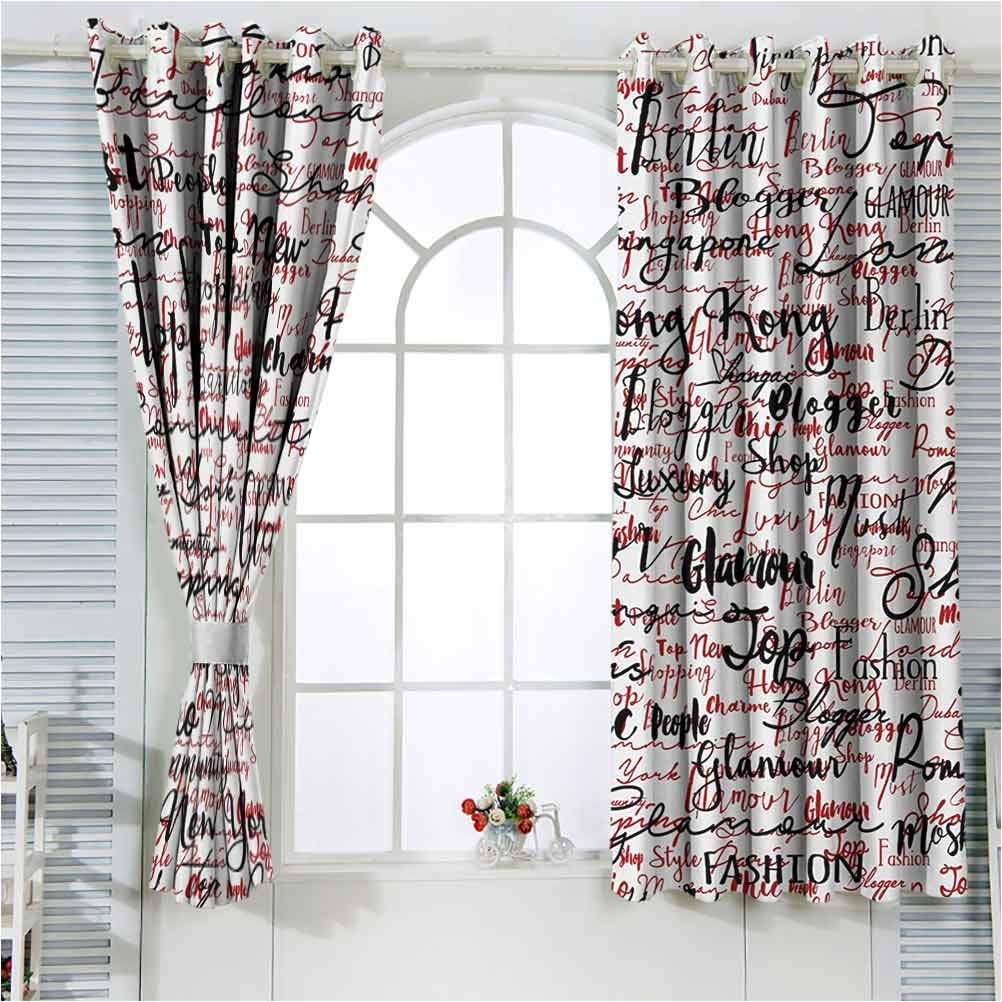 Modern Kids Blackout Curtains Ink Country Ca security Handwritten Popular Dallas Mall