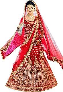 Lehenga Style Embroidered Semi-Stitched Silk Lehenga Choli with Dupatta Set (Red_free size)