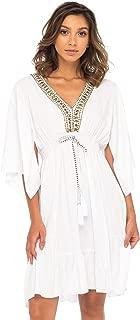Womens Short Sundress Flowy Boho Beach Dress with Beaded Deep V Neck, Casual Sexy Summer Party Dress
