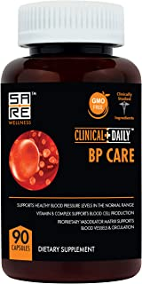 Blood Pressure Support. BP Optimizer & Heart Health Supplement with Folic Acid, Niacin, Garlic, Uva Ursi, Hawthorne Berry ...
