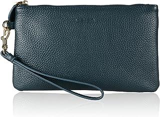 Befen Damen-Portemonnaie aus echtem Vollnarbenleder, Clutch, Smartphone-Geldbörse, Dunkles Türkis, Small,