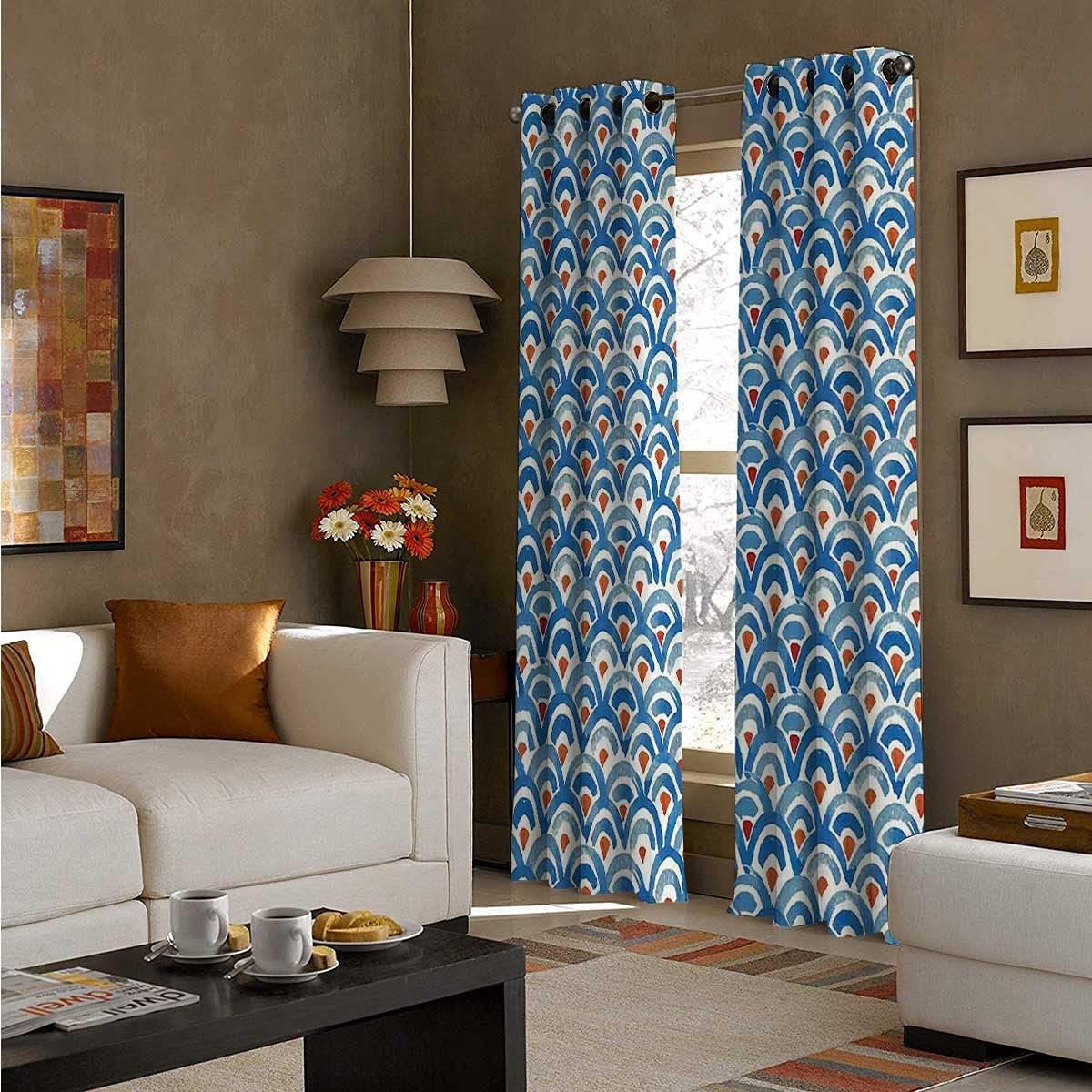 Short Curtains for Max 90% OFF Small Window 96 Watercolor S Fish Max 82% OFF Length Inch