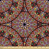 Ambesonne Bohemian Fabric by The Yard, Colorful Round with Floral Details Traditional Peruvian Motifs, Decorative Fabric for Upholstery and Home Accents, 1 Yard, Coral