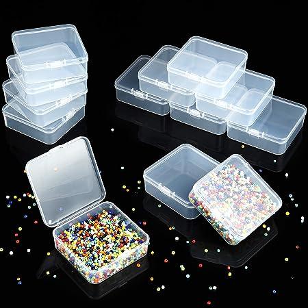 36 Mini Caja Cuadrada de Plástica Caja de Almacenamiento de Cuentas de Plástica Contenedores Pequeños de Cuentas Transparentes con Tapa Abatible para Pequeños Joyas (2,9 x 2,9 x 1 Pulgadas): Amazon.es: Hogar