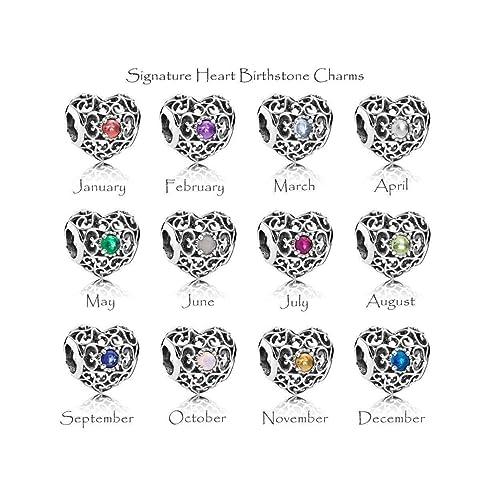 a602d86a0 Genuine Silver BIRTHSTONE Charm Signature Heart S925 Bead Gemstone Month  Fits Pandora Charms Bracelet