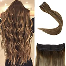 Full Shine Balayage Color #4 Fading to Color #24 Blonde and Color #4 Medium Brown 20 Inch Secret Fish Line Halo Extensions Remy Human Hair 100g Per Set Invisible Hairpiece
