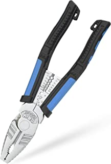 "8"" Linesman Combination Pliers with Wire Stripping/Crimping/Cutting/Winding/Pulling & Screw Removing - Nickle Plated CRV S..."