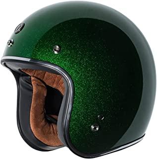 TORC Unisex-Adult Open-face Style (T50 Route 66) 3/4 Motorcycle Helmet with Solid Color (Limecycle Green Mega) (Lime Cycle, X-Large)