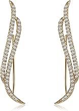 Mevecco Womens Ear Crawler Climber CZ Crystal Ear Wrap Cuffs Earrings Sweep Stud Earring Pin Jewelry