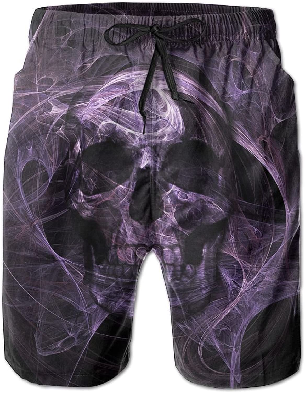 Quick Dry Men's Beach Board Shorts Shorts Shorts Purple Smoke Skull Surfing Swim Trunks Beachwear With Pockets 9eeaf8