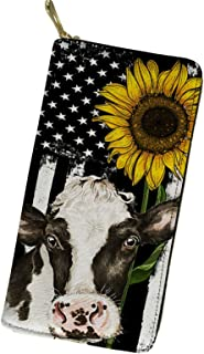 UZZUHI Sunflower Cow Purse for Women Girly Money Organisers Small Wallets with Credit Cards Keys Change