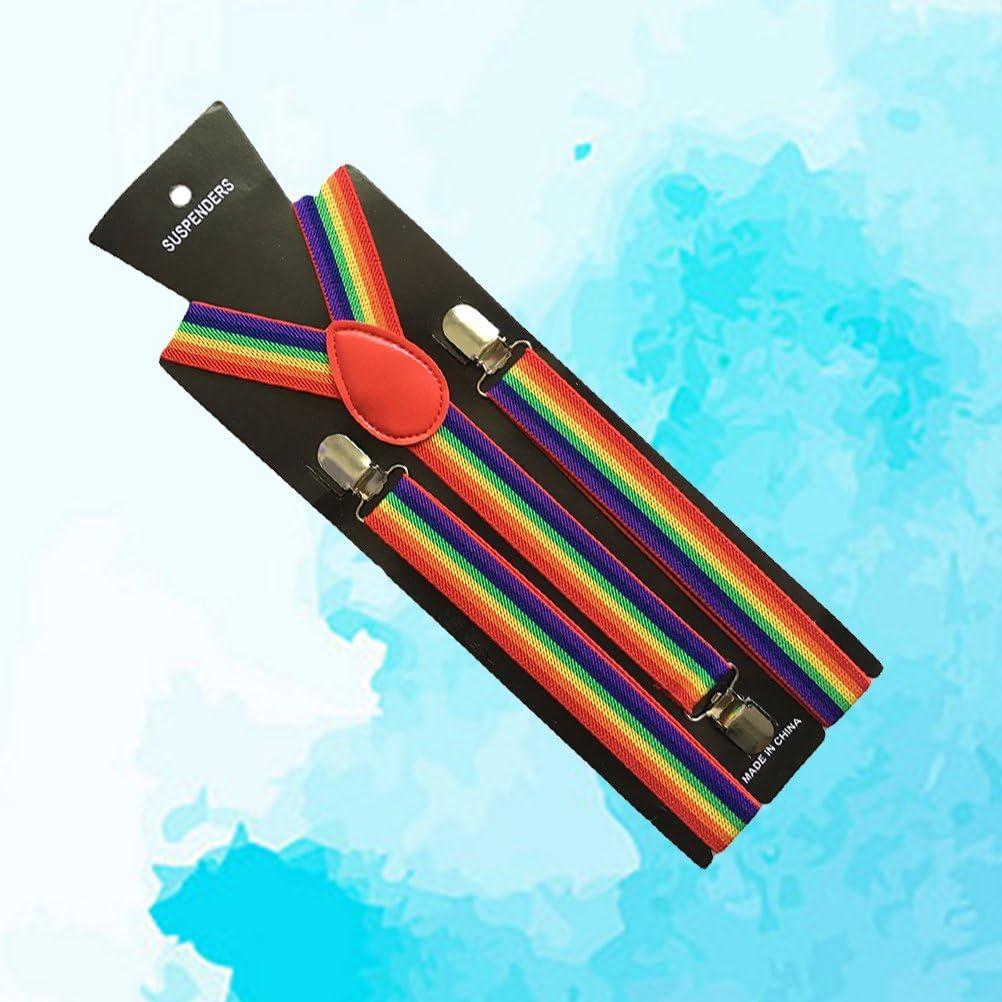 MUSEYA Rainbow Suspenders Y Back Suspenders with 3 Clips for Men Women 65cm