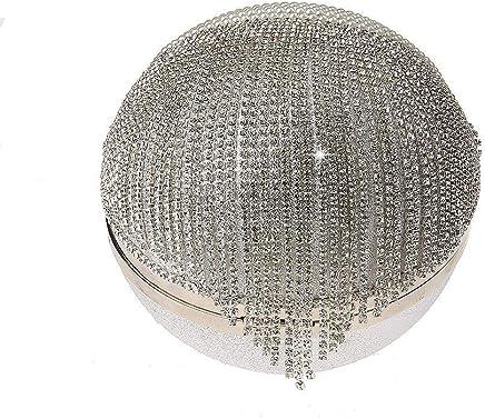 Ladies Handbag Tassel Rhinestones Evening Bag Finger Ring Diamonds Wedding Clutch Handbags Chain Shoulder Party (Color : Silver)