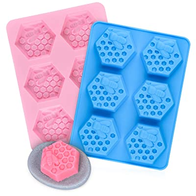 2 Pcs Hexagon Bee Honeycomb Soap Molds, SJ 3d S...