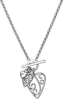 Lily & Lotty 银色三心项链套装,配以 44 厘米真钻石点缀,豪华礼品包装