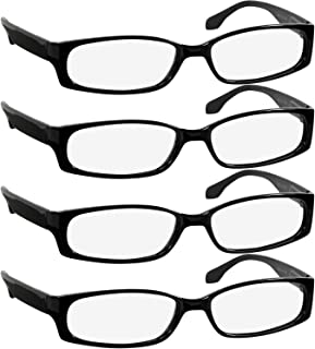 Reading Glasses 2.5 Best 4 Pack Black Readers for Men and Women Always Have a Stylish Look and Crystal Clear Vision When You Need It! Comfort Spring Arms & Dura-Tight Screws