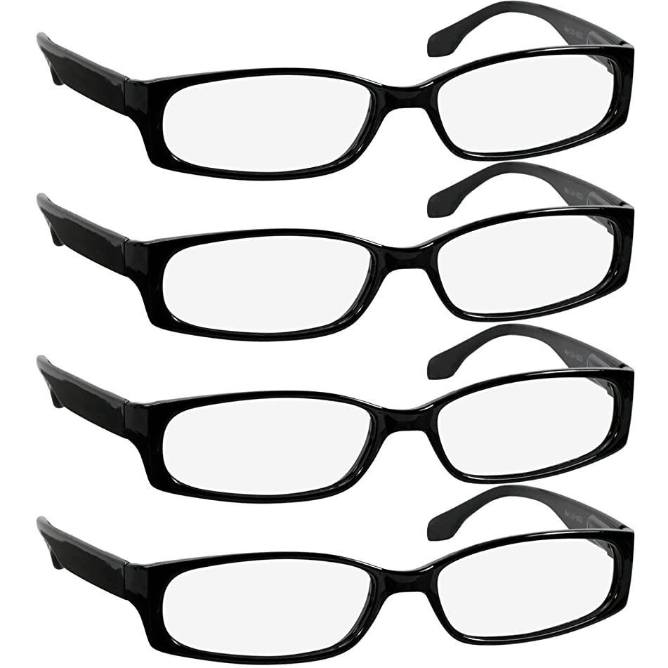 Reading Glasses 1.75 Best 4 Pack Black Readers for Men and Women Always Have a Stylish Look and Crystal Clear Vision When You Need It! Comfort Spring Arms & Dura-Tight Screws