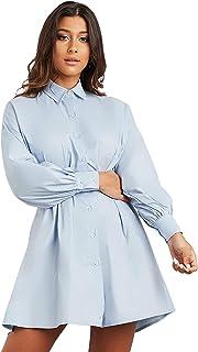 Button Through Fitted Waist A-Line Shirt Mini Women's Dress