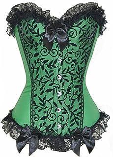 197dd9d29d KIWI RATA Women s Plus Size Floral Trim Lace up Boned Overbust Corset Waist  Cincher Bustier