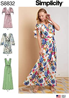Simplicity US8832R5 Pattern S8832 Misses' Pullover Dress with Tie Belt, R5 (14-16-18-20-22)