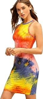 Women's Casual Tie Dye Bodycon Sleeveless Fitted Tank Dress