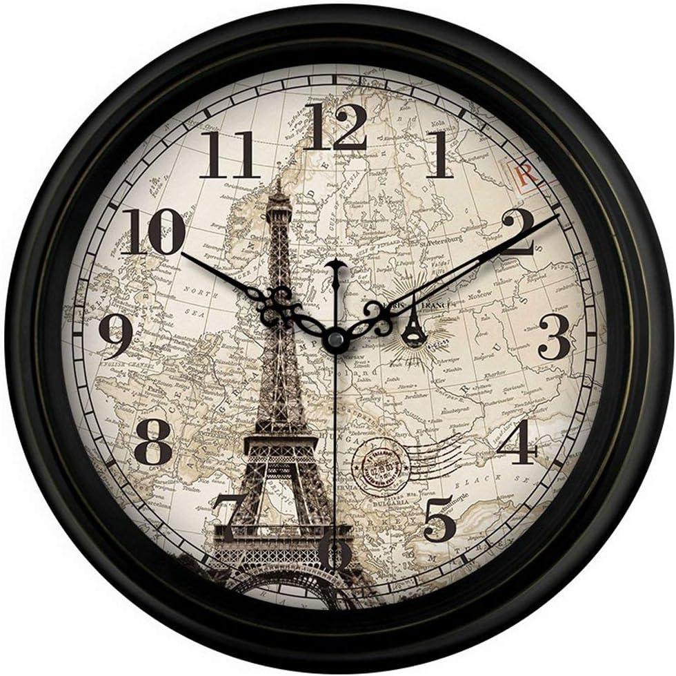Yppss Reloj Antiguo Retro Vintage de París Francia no tictac silenciosa segundero del Reloj de Pared de Cuarzo con la Torre Eiffel Eternal (Size : 14 Inches)