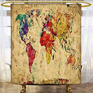 Retro Custom Shower Curtain 94x72 INCH Vintage World Map on Grunge Backdrop with Colored Continents Artsy Atlas Chart Image for Kids`, College Dorm Bathroom Multicolor