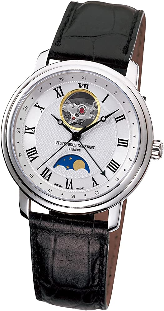 Frederique constant orologio unisex automatico fasi lunari in acciaio inossidabile e pelle FC-335MC4P6