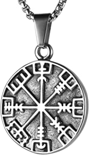 HZMAN Norse Vikings Runes Amulet Pendant Celtic Pagan Stainless Steel Viking Talisman Gift Necklace Jewelry for Men Unisex