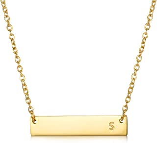 Stainless Steel Gold Tone Initial Bar Necklace Alphabet Pendant Necklace 16