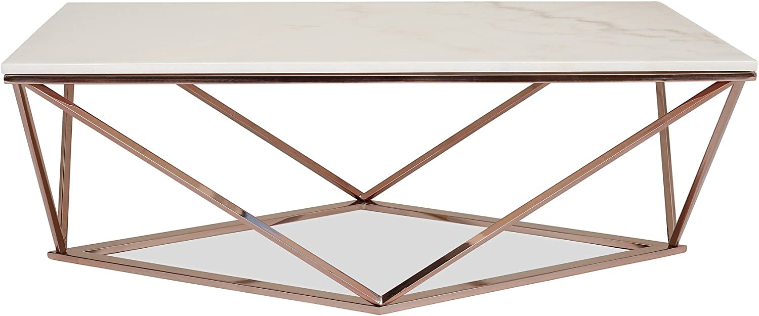 Edloe Finch Modern Marble Coffee Table Max Product 73% OFF Gold - Rose Cocktail Tabl