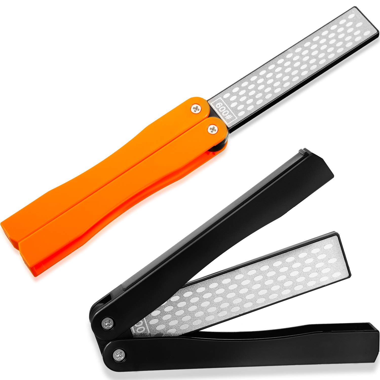 2 Pack Garden Tool Sharpener, Folding Pocket Diamond Knife Sharpener 400/600 Grit Double-Sided Scissor, Pruners, Loppers or Blade Sharpening Stone for Garden Outdoor Camping Kitchen