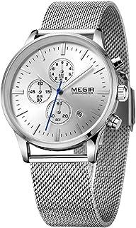 ساعة كوارتز كاجوال مضيئة للرجال من MEGIR مع حزام من البولي يوريثان بتقويم قرص كبير للعمل والمدرسة الخارجية