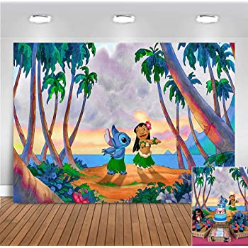 Amazon Com Stitch Backdrop Lilo And Stitch Background Party Decorations Birthday Baby Shower Tropical Photography Banner Camera Photo
