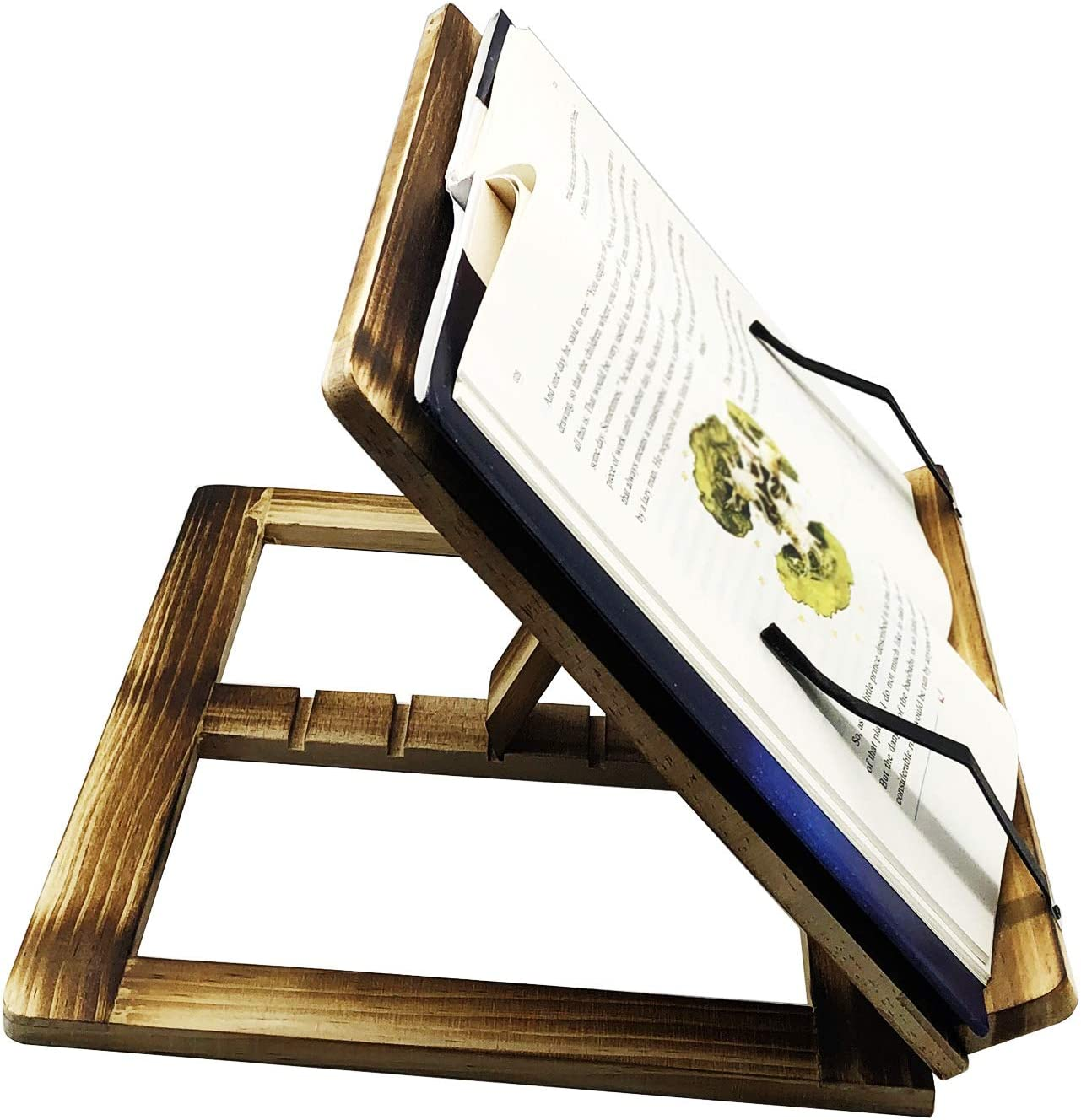 PrettyWit Wooden Book Stand Reading Rest Cook Book Document Stand Holder Bookrest - Carbonized Wood with Steel Tip