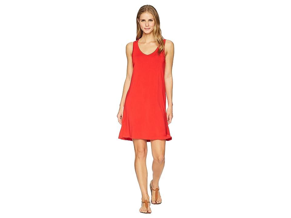 Tribal Solid Jersey Strappy Back Sleeveless Dress (Scarlet) Women