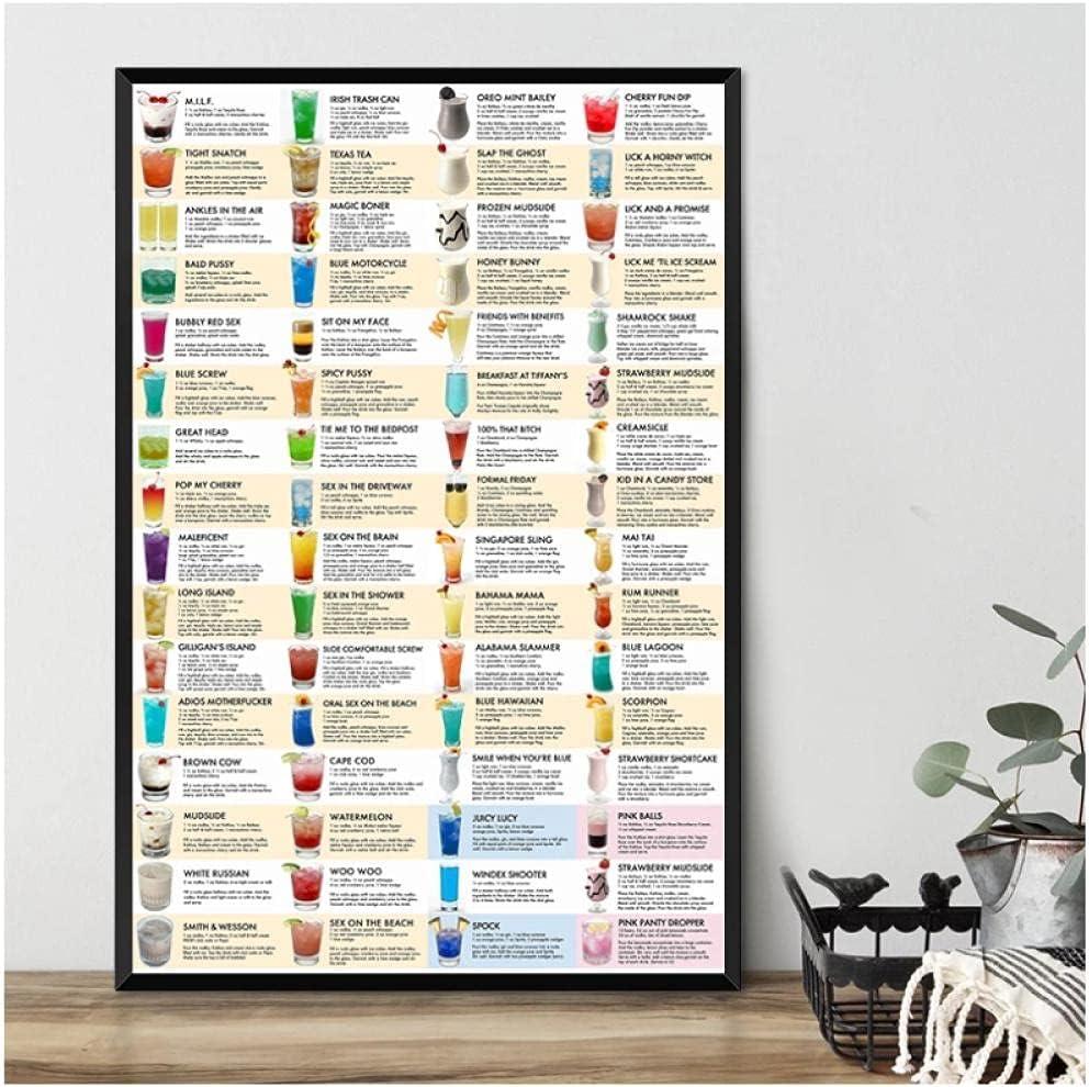 BINGJIACAI Pocket Cocktails Guide Manufacturer OFFicial shop Canvas Painting Cocktai Poster Branded goods