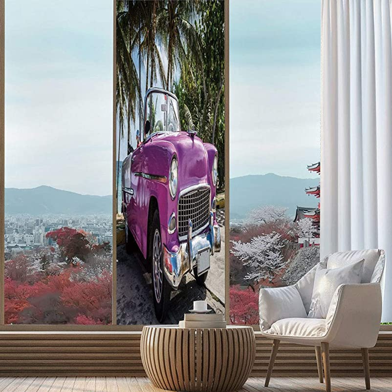 YOLIYANA Privacy Frosted Decorative Vinyl Decal Window Film,Cars,for Bathroom, Kitchen, Home, Easy to Install,Classic Colored Cabriolet Car Parked on The Beach,24''x78'' anerzhtz525826