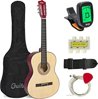 Best Choice Products 38in Beginner Acoustic Guitar Starter Kit w/ Case, Strap, Tuner, Pick, Pitch Pipe, Strings - Natural