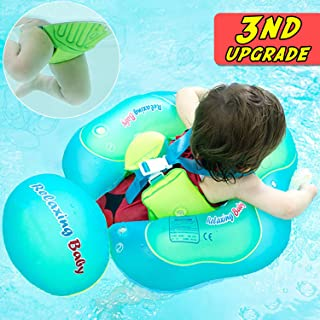 Upgrade Baby Floats for Pool Inflatable Baby Swimming Float Ring with Bottom Support and Seat Double Airbag for Safe Swim Baby for 6-30 Months Infants Babies Summer Pool Bathtub Swim Training