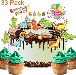 33 Pack Cute Cartoon Dinosaur Themed Cupcake Toppers Lovely Tyrannosaurus,Triceratops and Stegosaurus For Baby Shower Kids Birthday Party Toothpick Decorations.