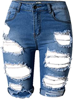OLRAIN Womens High Waist Ripped Hole Washed Distressed...