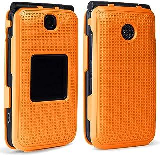 Case for Alcatel Go Flip V, Nakedcellphone [Construction Orange] Protective Snap-On Cover [Grid Texture] for Alcatel Go Fl...