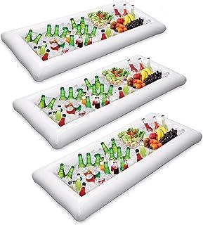 Soporte para bebidas inflable de la bandeja de la barra de servicio de 3 piezas, barbacoa picnic piscina fiesta buffet luau enfriador con tapón de drenaje
