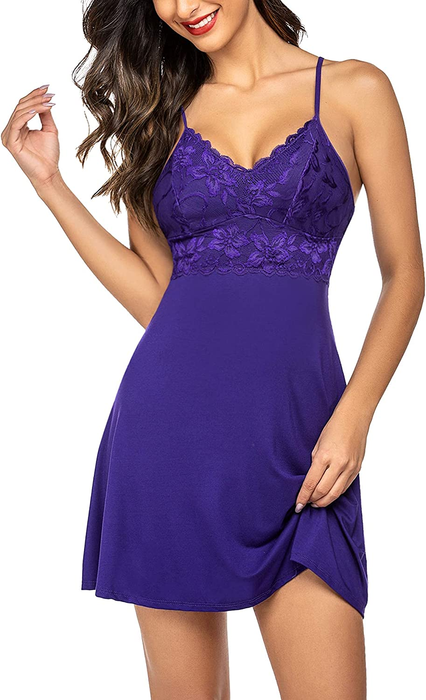 Avidlove Sexy Sleepwear Women Nightdress Lace Chemises Nightgown V-Neck Full Slip