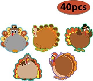 40 Pieces Turkey Colorful Cut-Outs Versatile Classroom Decoration Creative Turkey Cut-Outs with Glue Point Dots for Bulletin Board Classroom School Fall Theme Thanksgiving Party, 5.9 x 5.9 Inch
