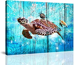 BYXART Sea Turtle Gifts Kids Room Decor for Girls Boys Underwater Animal Canvas Prints Framed Wall Art Set for Living Room Bedroom Bathroom Office Wall Decorations (12x16inx1)